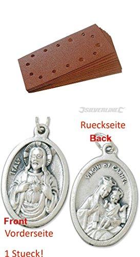 Preisvergleich Produktbild Klettschleifblätter, gelocht, 115x230 mm, 10er Pack, 60er Körnung, Schleifpapier mit einem Anhänger Herz Jesu 2,5cm