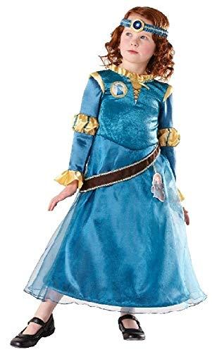 Mädchen Offiziell Disney Deluxe tapferen Merida Prinzessin Kostüm Kleid Outfit 3-8 Jahre - Blau, Blau, 7-8 years