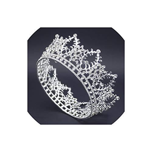 lingmo Goldkristall-Tiara-Krone für die Königin König Diadem Hochzeit Diademe und Kronen Brauen, Silver1 - Prinzessin Weiß Metall Baldachin