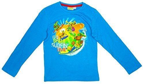 Jungen Teenage Mutant Ninja Turtles Hülle Surfen Langärmliges Oberteil größen von 3 bis 8 Jahre - Aqua, (Turtles Ninja Shirt Shell)