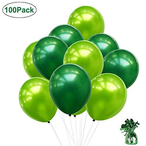 100 stücke 10 Zoll Grüne Ballons, Hellgrüne Ballons Dunkelgrüne Ballons Ballongewicht für Saint Patrick & Irish Parties Party Supplies Hochzeit Geburtstag Party Baby Shower Dekoration (Geburtstag Ballons Grüne)