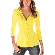 Mujer Color Sólido Mangas Larga Cuello V Anudado Blusas Camisa Tops Sudaderas