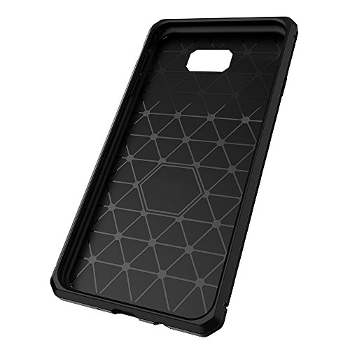 Für Samsung Galaxy J7 Prime Case Gebürstet Lines Texture Cartoon Faser Durable Anti-Rutsch TPU Cover Schock Absorbtion Schutzmaßnahmen zurück Deckung ( Color : Dark Blue ) Black
