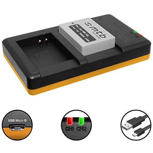 Akku + Dual-Ladegerät (USB) für NB-10L / Canon PowerShot G15, G16, G1 X, G3 X, SX40 HS, SX50 HS, SX60 HS (inkl. Micro-USB-Kabel)
