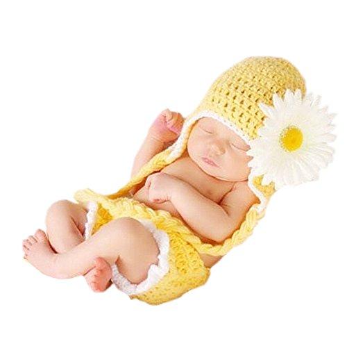 DELEY Filles de Bébé au Crochet Tricot de Tournesol Costume Tenues Casquettes Pantalon Photographie Prop Ensemble-Cadeau