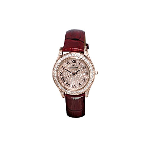 ADEE Kaye Women's Mystique 40.56MM RED Leather Band Quartz Watch AK9257-LRG
