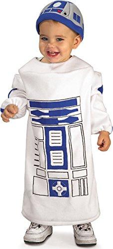 Costume R2D2 Star Wars bebè 1/2 ANNI travestimento star wars per bambini prodotto ufficiale tunica e cappello di r2-d2 di guerre stellari darth vader stormtrooper morte nera travestimento carnevale halloween cosplay 1/2 anni