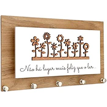 The Grandeur Modern Flower Key Holder with 5 Hooks, Brown and White in Color (Size of 15cm X 20cm)
