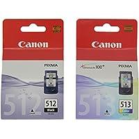Canon PG-512XL+CL-513XL Cartucho de tinta original Negro XL y Tricolor XL para Impresora de Inyeccion de tinta Pixma MX320-MX330-MX340-MX350-MX360-MX410-MX420-MP230-MP240-MP250-MP252-MP260-MP270-MP272-MP280-MP282-MP480-MP490-MP492-MP495-MP499-IP2700-IP2702