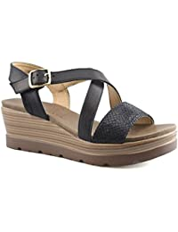 e0116f19a6bc Cipriata Ladies Womens Crossover Buckle Strap Casual Wedge Sandals Shoes  Size 3-8