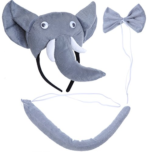 Coaplay Kostüm - PRETYZOOM Kinder Tier Kostüme Set Elefant Kopf Stirnband mit Ohren Tier Schwanz Fliege für Karneval Coaplay Party Kostüme 3 Stück (Grau)