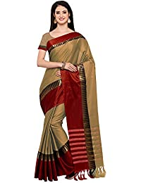 AppleCreation Women's Cotton Silk Saree With Blouse Piece (sarees New Collection KVS131K_Beige)
