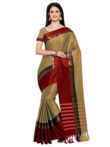 Mrinalika Fashion Women'S Cotton Silk Saree With Blouse Piece ( Beige_Kvs131K_Free Size...