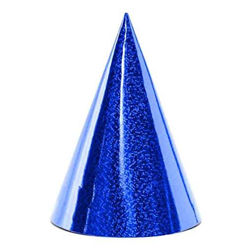 jakopabra Party-Hütchen Holografie glänzend 6er-Packung (blau)