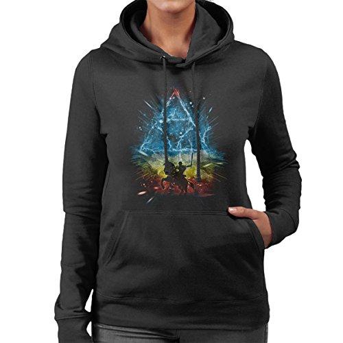 Triforce Storm Rainbow Legend Of Zelda Women's Hooded Sweatshirt Black