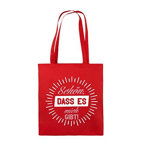 Comedy Bags - Schön, dass es mich gibt! - Jutebeutel - lange Henkel - 38x42cm - Farbe: Schwarz / Weiss-Neongrün Rot / Rosa-Weiss