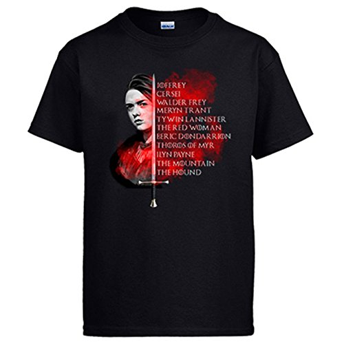 Camiseta Game Of Thrones Juego de Tronos lista de Arya Stark - Negro,