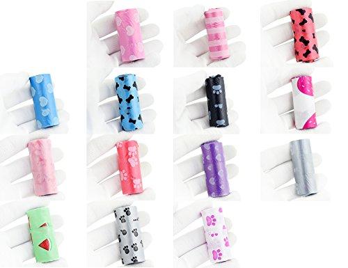 FiveSeasonStuff 200er Packung Zufällige Farbe und Muster Hunde / Katzen / Haustier Biologisch Abbaubar Kotbeutel - 4