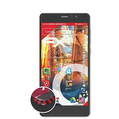 atFolix Schutzfolie passend für Archos 55 Diamond Selfie Lite Folie, entspiegelnde & Flexible FX Bildschirmschutzfolie (3X)