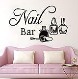 ZJfong 68x42 cm Nail Bar Sticker Mural Manucure Vinyle Sticker Ongles Beauté Salon Décoration Mur Fenêtre Autocollant Manucure Murale