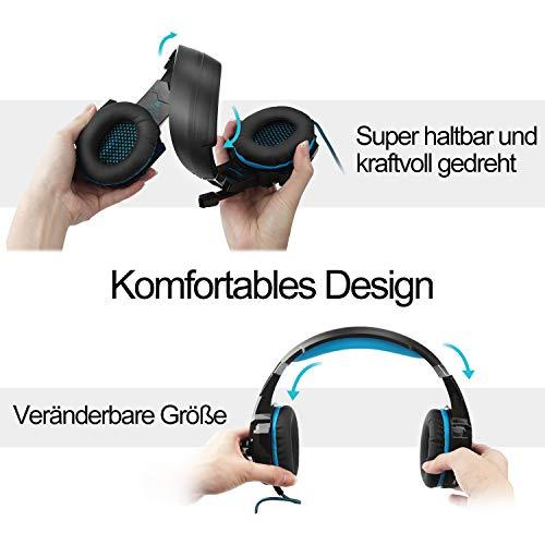 VTAKOL V9 Gaming Headset für PS4, 3.5mm Surround Sound Kabelgebundenes Gaming Kopfhörer mit Mikrofon, LED-Licht, Kopfhörer für Laptop, Xbox one, PC, Smartphone - 3