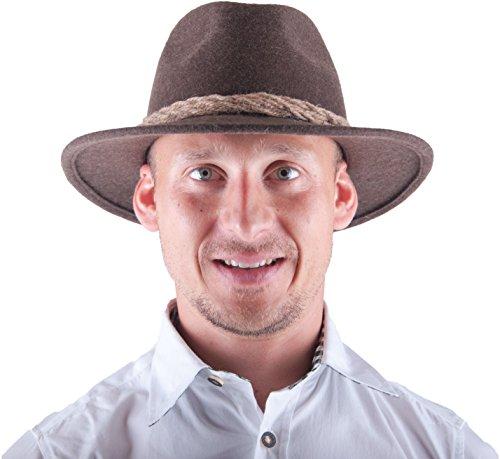 Almwerk Herren Tiroler Trachten Hut Filzhut Wanderhut , Farbe:Braun;Hutgröße:60 (Hose Land Wildleder)