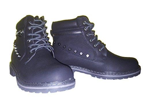 Bottes hiver, chaussures femme, chaussures rivet, modèle 1103400112001111, couleur noir, différents modèles et tailles. Noir.