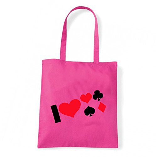 Art T-shirt, Borsa Shoulder i-love-poker Fucsia