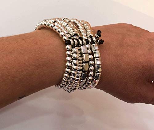 Imagen de pulsera zamak 6 filas, estilo uno de 50, leather bracelet, woman bracelet