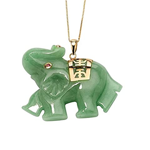 Green Jade Pink Genuine Sapphire Accent 14k Yellow Gold Lucky Elephant Charm Pendant