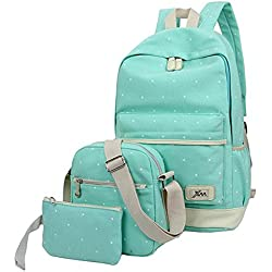 Hosaire Backpack Mochilas Escolares Mujer Mochila Escolar Lona Bolsa Casual Para Chicas Bolsa De Hombro Mensajero Billetera 3 Piezas (Verde)