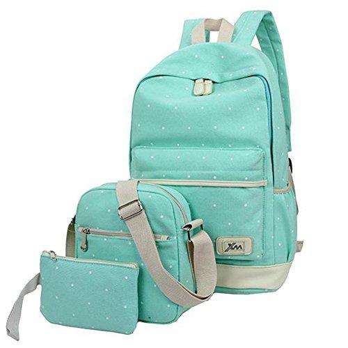 Imagen de hosaire backpack  escolares mujer  escolar lona bolsa casual para chicas bolsa de hombro mensajero billetera 3 piezas verde