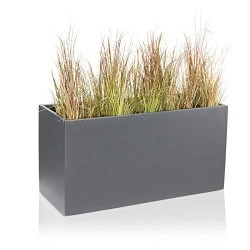 DECORAS Pflanzkübel Blumentrog VISIO Fiberglas Blumenkübel - Farbe: grau matt - großer Wetter- und winterfester Pflanztopf für Innen & Außen, robuster & UV-beständiger Pflanztrog