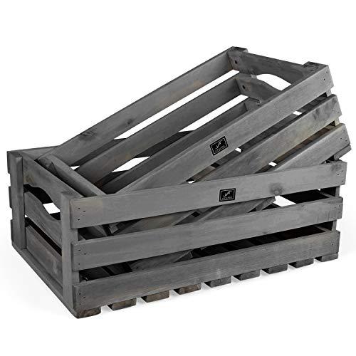 Vanage Holzkiste für Obst und Gemüse | 2er Set | Aufbewahrungskisten aus Akazienholz geölt |...
