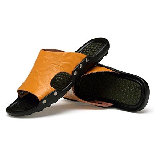 SHANGXIAN Flip spiaggia di estate degli uomini di cadute sandali di cuoio casuali Yellow