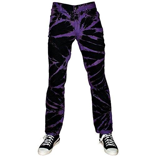 Jeans Tie Dye Hose schwarz lila im Straight-Fit-Style (Tie-dye-bleach)