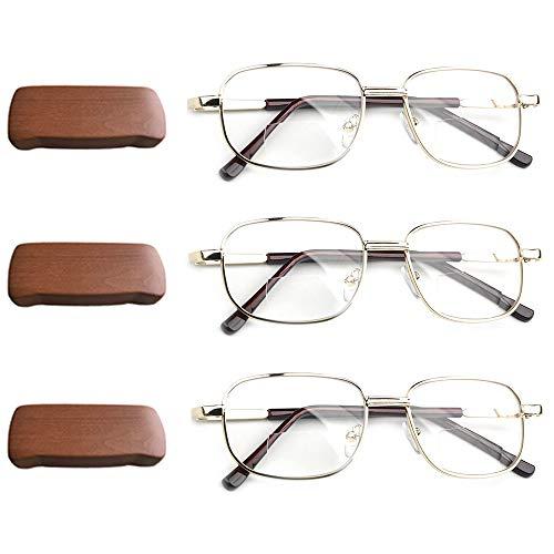 Lesebrille & Presbyopiebrille, 1.00D bis 3.50D Doppellinse für Herren Vintage Metallrahmen tragbar mit Brillenetui, 3er-Pack,+1.00