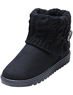 Summer Mae Damen Winterstiefel Schneestiefel Gefüttert Warm Boots Klassisch Strick-Design