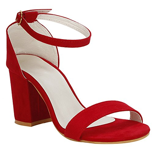 SHOFIEE Womens Party WEAR & Casual WEAR Block Heels (36, RED)