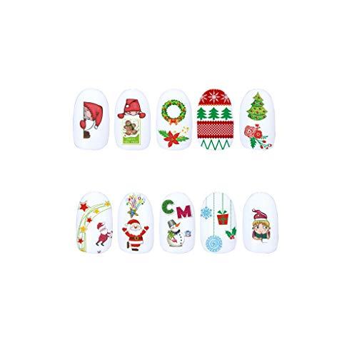 Entwürfe/Blatt Winter-Schneemann Elk Nagel-Kunst-Wasser-Übergang Sticker Weihnachten Wrap-Maniküre-Nagel Beauty-Abziehbilder ()