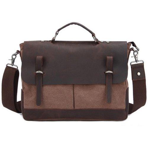 Etasche Vintage Messenger Bag / Umhängetasche / Schultertasche / Unitasche / Collegetasche aus Canvas Leder Unisex Vintage ideal für Studium Büro, Studium Reise oder Freizeit Outdoor (Blau) Kaffee