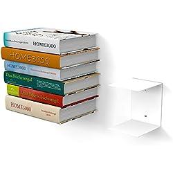home3000 1 GROßES Weisses unsichtbares Bücherregal mit 2 Fächern für große Bücher bis 30cm Tiefe und für 50cm Hohen Bücherstapel