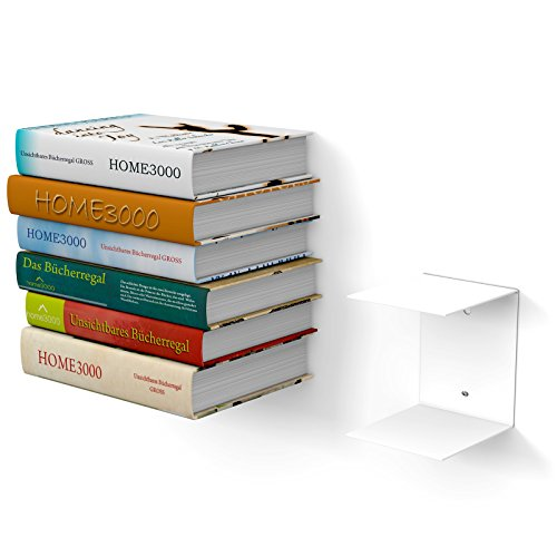 1Grande Blanca Estantería Invisible con 2Compartimentos para Libros Grandes hasta 30cm de...
