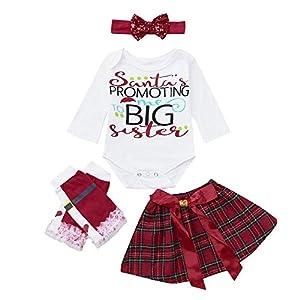 Proumy ◕ˇ∀ˇ◕Baby Kleidung Set,Baby Body Kleinkind 4pcs Baby Kinder Mädchen Strampler + Rock Und Beinwärmer + Stirnband Set Outfits Kleidung