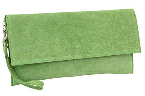 AMBRA Moda Damen Wildleder Clutch Handtasche veloursleder Tasche Handschlaufe WL811 (Apfelgrün) - Grün Leder-clutch