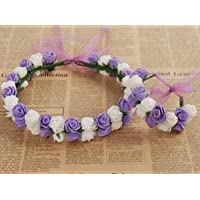 Bureze 1PCS/lot Rose Flower Wreath Hair Accessories Bohemian Rose Flower Headband Kids Wreath Wedding Flora Ribbon Adjustable