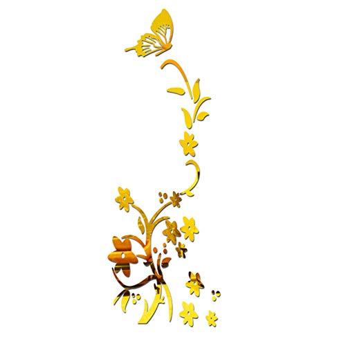 superchao 3D DIY Blume Schmetterling Geformt Wandaufkleber Dekorative Acryl Moderne Aufkleber für Wohnzimmer Schlafzimmer Wand Home Decals Decor, 100X30 cm