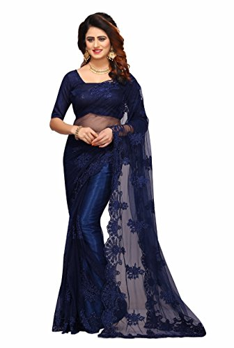 I-Brand Women's Georgette, Net & Banglori Silk Fabric Saree With Blouse Piece...
