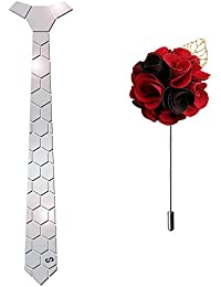 HEX TIE Women's with Lapel Pin (Silver, Free Size)