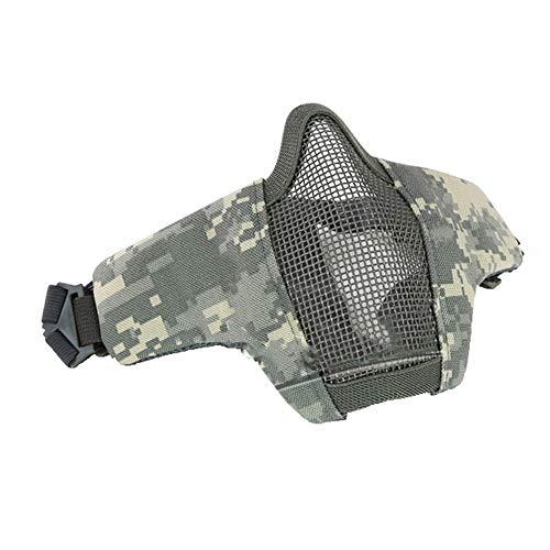 Mars Jun Taktische Faltbare Halbmaske - Outdoor Gear Mask Screen, Verstellbarer Elastischer GüRtel FüR Airsoft Equestrian Mask Paintball Cs Outdoor(ACU) -
